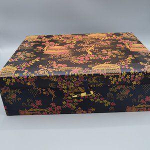 Asian Style Storage Box Pagoda Print Fabric Cover